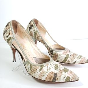Tweedies Vintage Pleated Floral High Heel Pumps 8